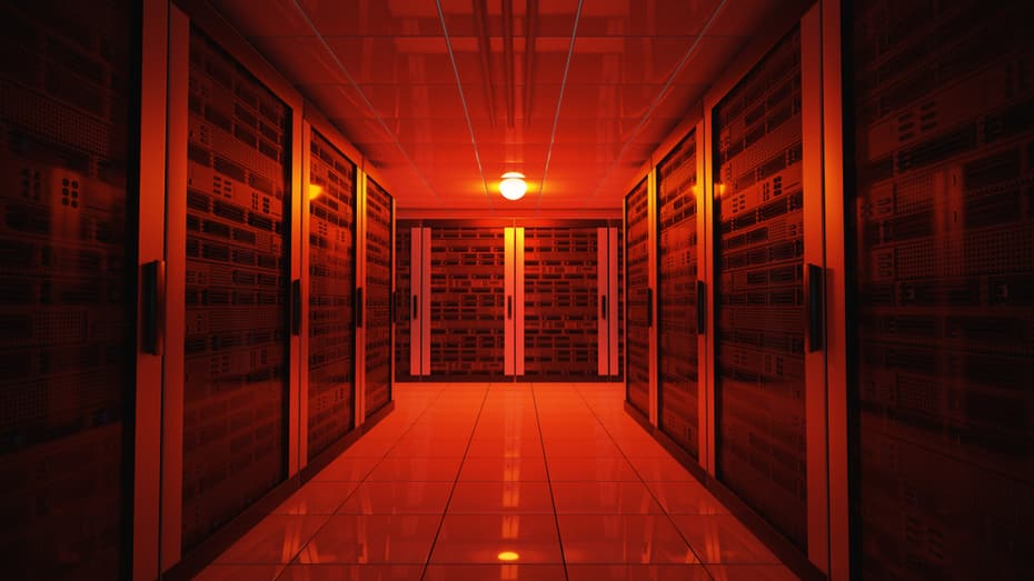 Emergency failure red light in data center with servers